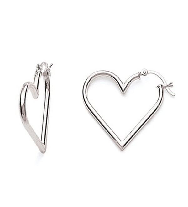 .925 Sterling Silver Heart Tubular Hoops Hoop Earrings - CK11GQQSO39