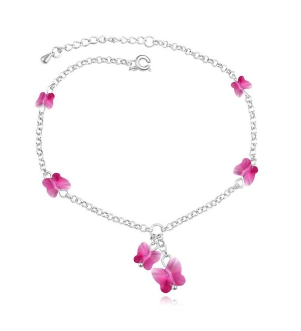 Fashion Anklets Bracelets Fuchsia Butterfly - Fuchsia (True Platinum Plated) - CX11P2IC3LL