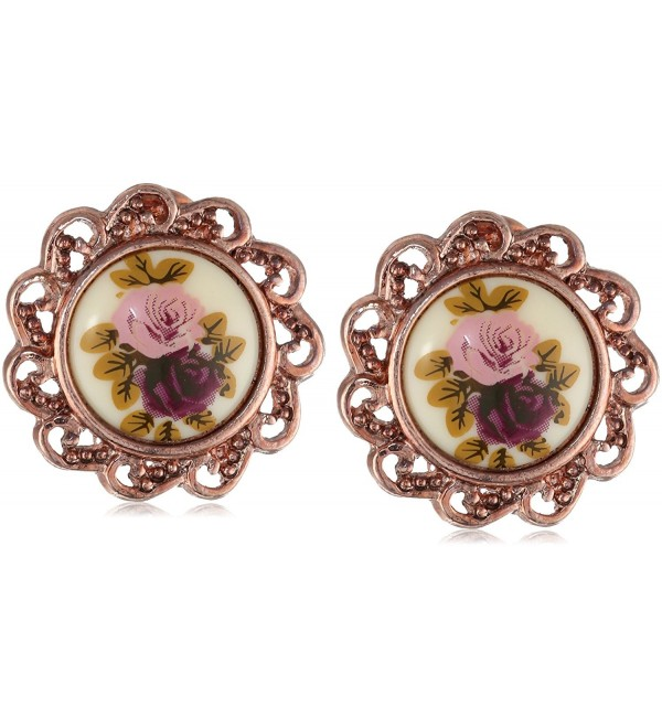 1928 Jewelry Manor House Rose Gold-Tone Clip-On Earrings - C5112V1JQUN