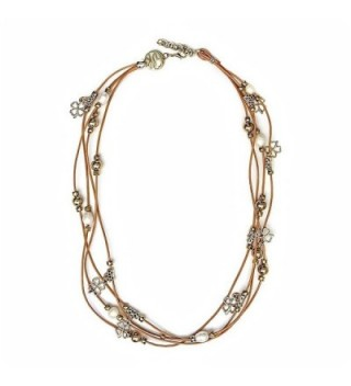 "12"" Brown Leather Wrap Bracelet / Necklace With White Cultured Freshwater Pearls - C51281CXZXJ"