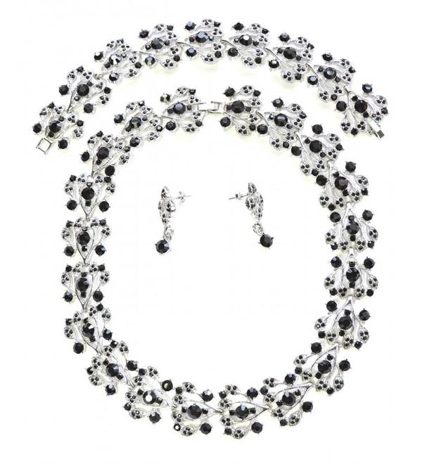 Faship Black Choker Rhinestone Crystal Necklace Earrings Bracelet Set - CH11T2HVUTJ