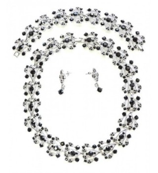 Faship Black Choker Rhinestone Crystal Necklace Earrings Bracelet Set - CH11T2HVUTJ