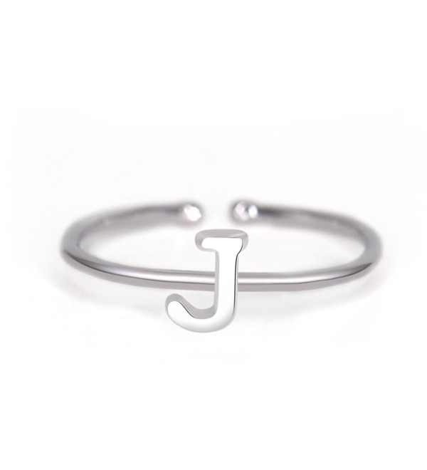 Rhohdium Plated Sterling Silver 925 Stackable Initial Ring Alphabet Letter Knuckle Rings Bridesmaid - J - White - CD1887UOHE2