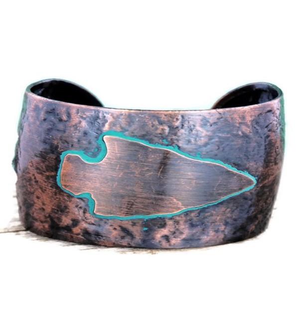 Boho Worn Western Coppertone and Patina Arrowhead Cuff Bracelet - CU12M8N87NF