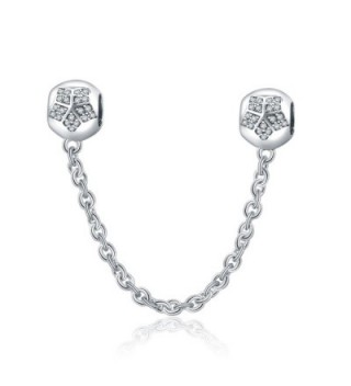 Christmas Gifts Safety Chain Charms for Bracelets 925 Sterling Silver Stoppers Bead Lucky Star Clear CZ - CZ1845WRO4W