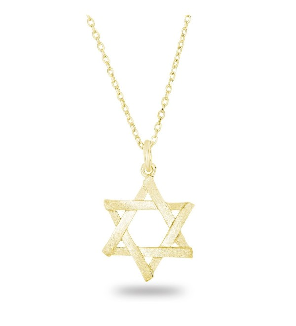 "925 Sterling Silver Matte Finish Brush Textured 6 Point Jewish Star of David Pendant Necklace- 18"" - C5122I8WGZF"