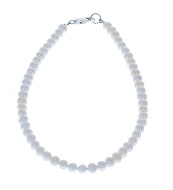 Womens Genuine Fresh Water Cultured Pearls & Sterling Silver Beaded Anklet - CX11CQEY4X9