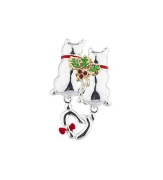 Lux Accessories Christmas Xmas Holiday Silvertone Two Cat Mistletoe Brooch Pin - CB12NUQ6Z4P