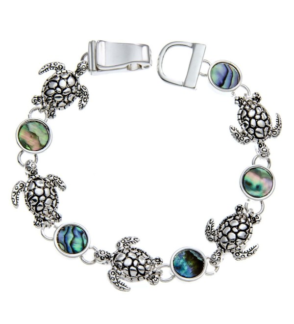 PammyJ Silvertone Turtle Charms and Abalone Bracelet with Magnetic Closure - C2118A50PZN