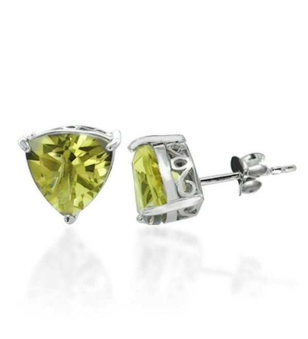 Rhodium Plated 925 Sterling Silver Gemstone Triangle Stud Earrings- Lemon or Smokey Quartz - Lemon Quartz - CT11LBFTCOF