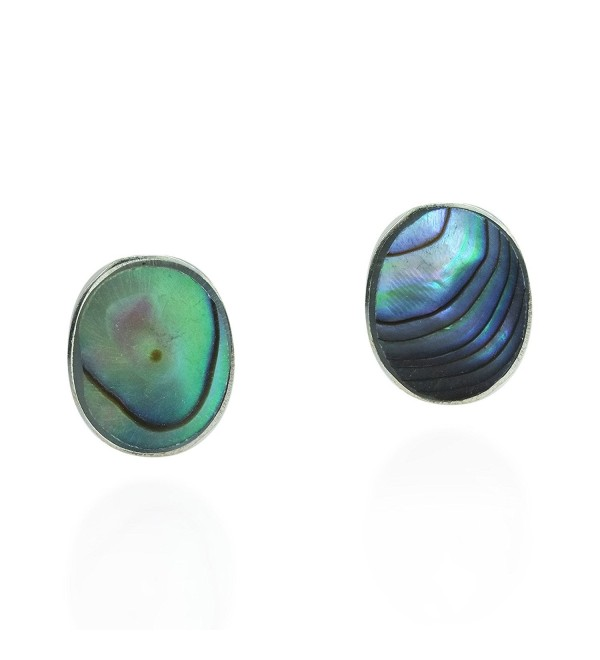 Cute Inlay Abalone Shell Oval .925 Sterling Silver Push Back Stud Earrings - CI11W42CUTN