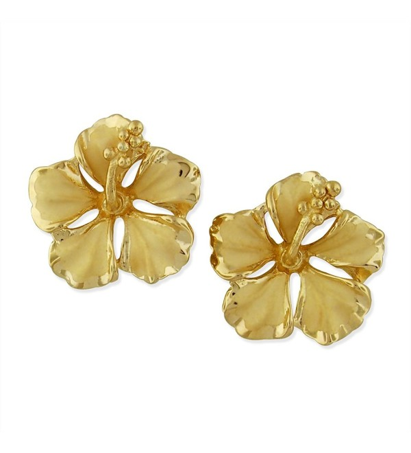14kt Yellow Gold Plated Sterling Silver 1/2 Inch Hibiscus Stud Earrings - CE11MDMIA3X
