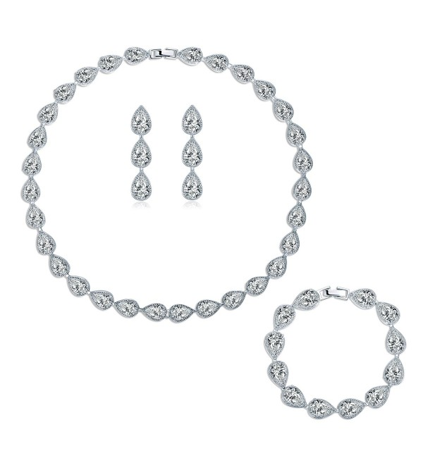 MASOP Silver-tone CZ Cubic Zirconia Pear Shape Teardrop Choker Necklace Bracelets Earrings Jewelry Set - CS12N27KDSV