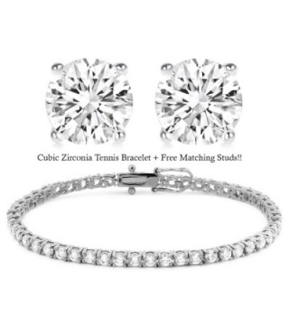 18K White Gold Plated Cz Tennis Bracelet + FREE Matching Stud Earrings - CQ12DLI9LIL