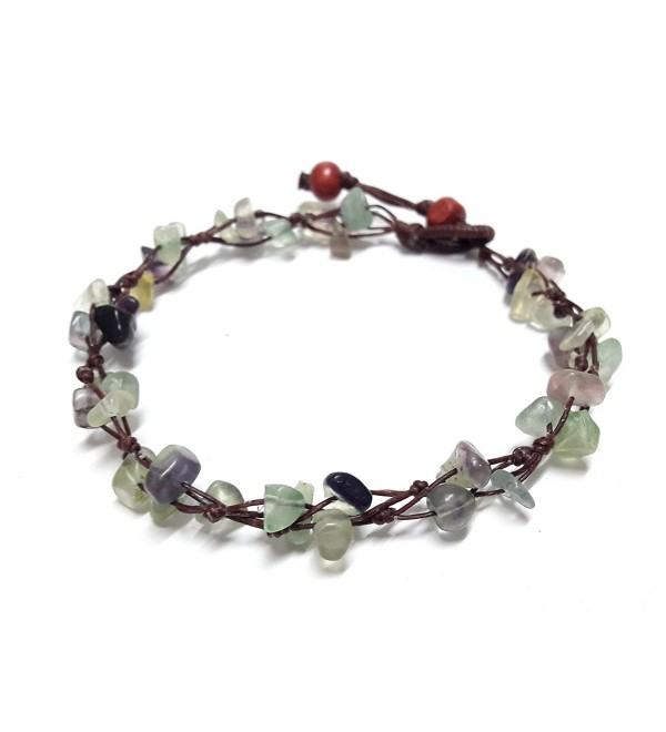 Purple Green Fluorite Color Bead Anklet Beautiful 10 Inches Handmade Stone Anklet Fashion for Women - CA12I9XFFUL