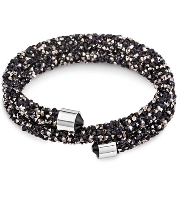 Silver & Post Women's Swarovski Crystals Black & Hematite Bracelet Design- Gift Box Included - CE188AGQAR5