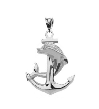 Textured Dolphin Anchor Sterling Silver Pendant - C3182K0G56X