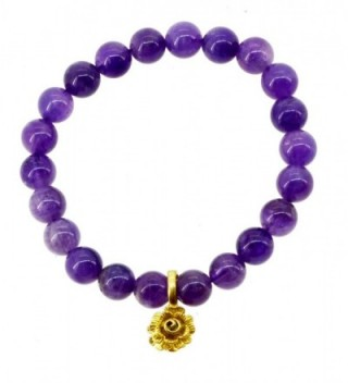8.5mm Simulated Amethyst Bracelet with Charm - CR11QXP9KSB