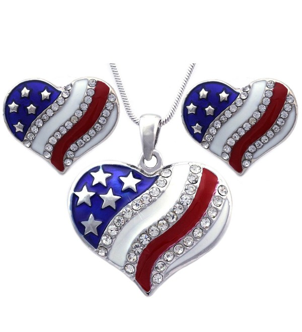 4th of July USA American Flag Heart Star Pendant Necklace Earrings Set - Heart Stud Silver-tone - C211Q37PEYD