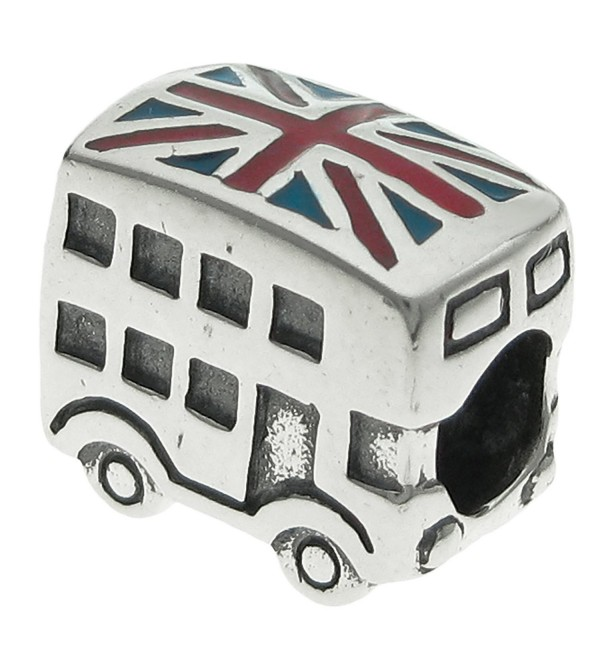 925 Sterling Silver UK Britain Coach Bus Enamel European Bead Charm - CU11HTPRUG3