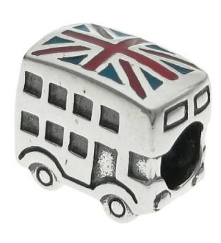925 Sterling Silver UK Britain Coach Bus Enamel European Bead Charm - CU11HTPRUG3