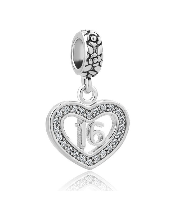 Charmed Craft Heart 18 Coming-of-age Sweet 16 Birthday Gifts Charms Crystal Dangle Beads For Bracelets - CF12OCSGPDD