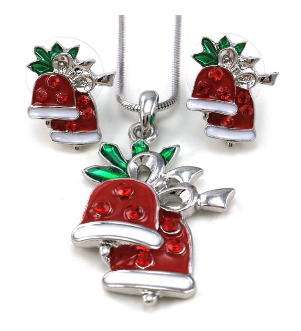 Merry Christmas Jingle Bells Charm Pendant Necklace & Stud Post Earrings 2-piece Set - C0110Q8405J
