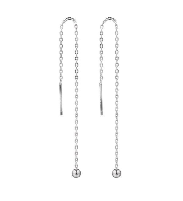Amkaka 925 Sterling Silver Tassel Threader Drop Long Earrings for Women - CM17YK56GZK