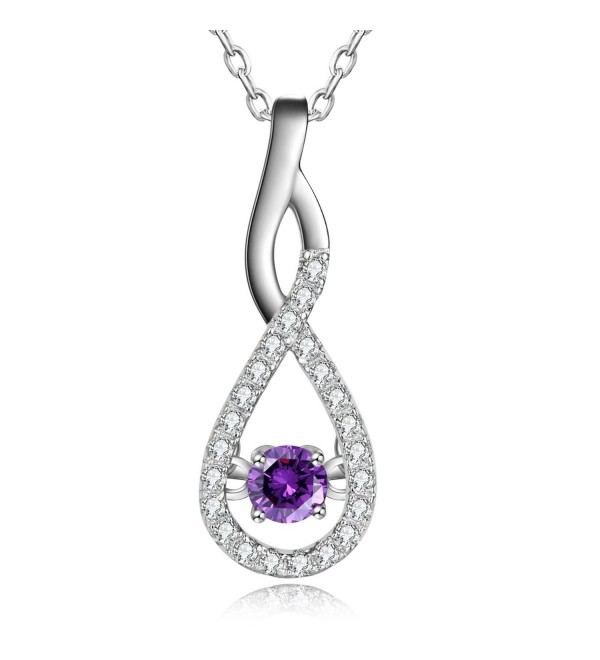 Foruiston Created Gemstone Sterling Silver Infinity Pendant Necklace for Women- 18'' - Created Amethyst - CU187DLGO4N