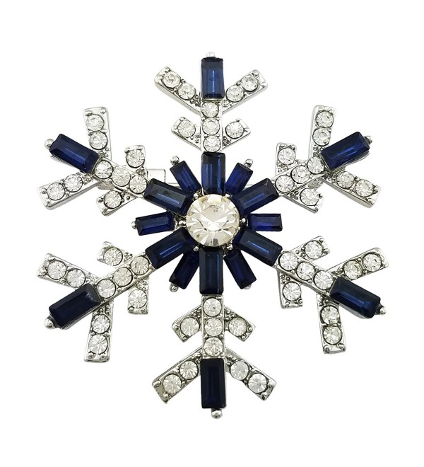 SELOVO Women's Sparkly Snowflake Brooch Pin Blue Crystal Silver Tone - CU12O0ESVP3