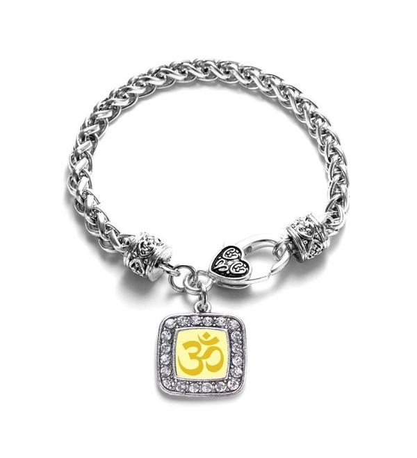 OM Yoga Classic Silver Plated Square Crystal Charm Bracelet - C111KY4UGCV