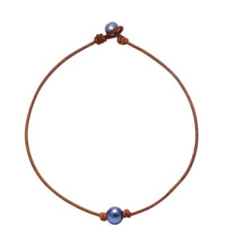 Aobei Adjustable One Single Freshwater Cultured Pearl Choker Necklace with Genuine Leather Cord for - CC186G2GUKI