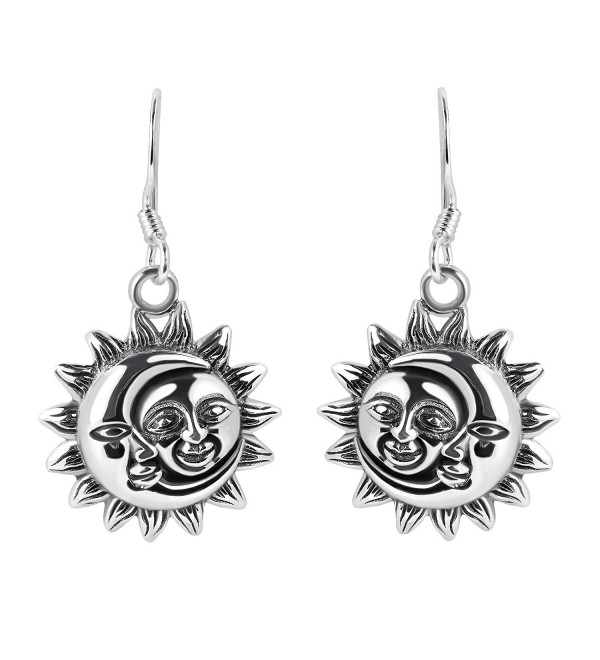 Glinting Celestial Sun And Moon .925 Sterling Silver Dangle Earrings - C312OCLH7I1