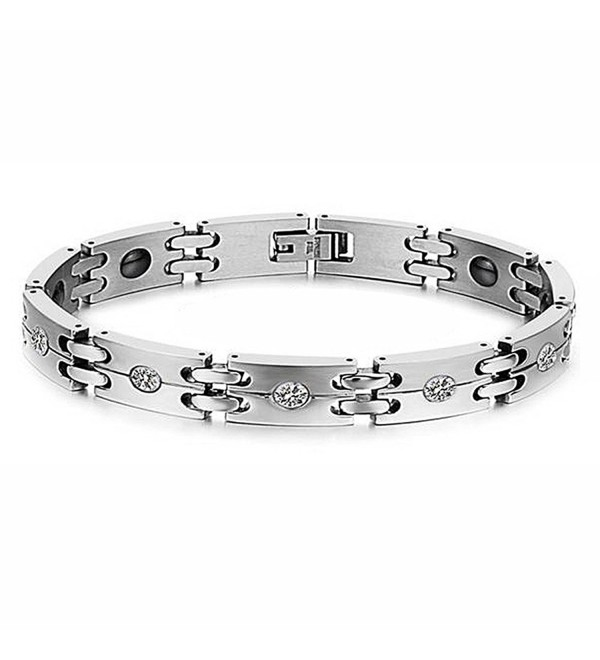 Titanium Steel Cubic Zirconia Magnetic Therapy Link Bracelet European Style - C912EEUKPIZ