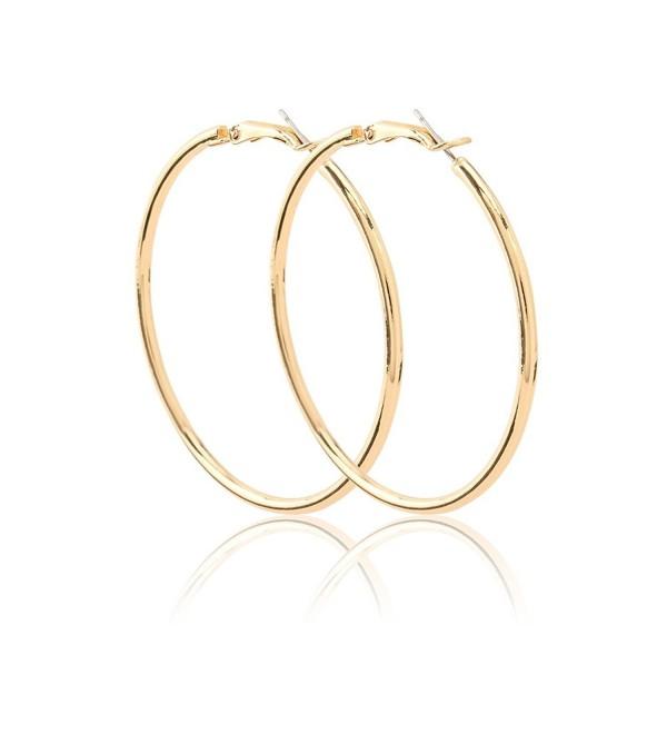 "Women Gold Hoop Earring 2"" Stunning Stainless Steel Earring - CS188A6T5AU"