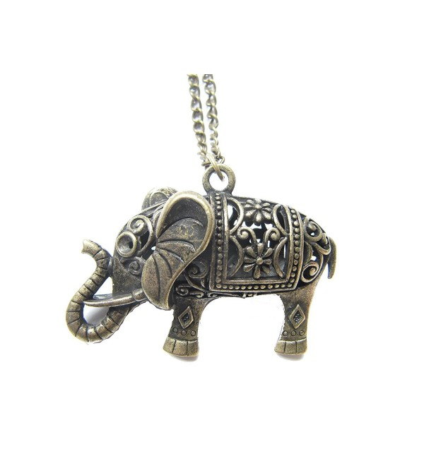 Large Elephant Necklace- Antique Bronze Charm- Jewelries- Elephant- Animal Necklace- Good Luck Necklace - CV128VHC053