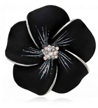 Akianna Hand Painted Swarovski Element Hawaiian Plumeria Flower Brooch Pin - Black-Silver - CH12D20GDIJ