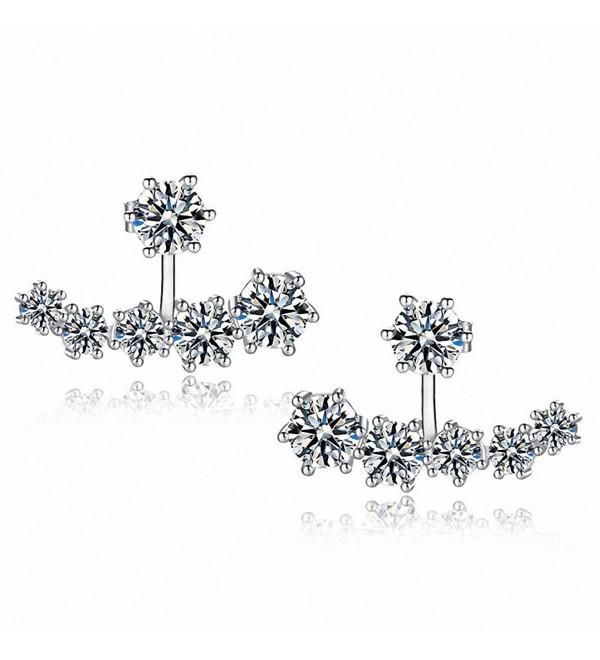 sanfnee Bling Clear Cubic Zirconia Crystal Ear Jackets Stud Earrings Ears Wraps for women - CT17YYTKQGN