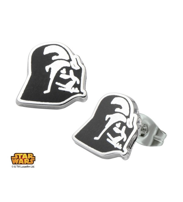 Licensed Star Wars Darth Vader Stainless Steel Enamel Stud Unisex Earrings (with Gift Box) - CU11VFZUSRB