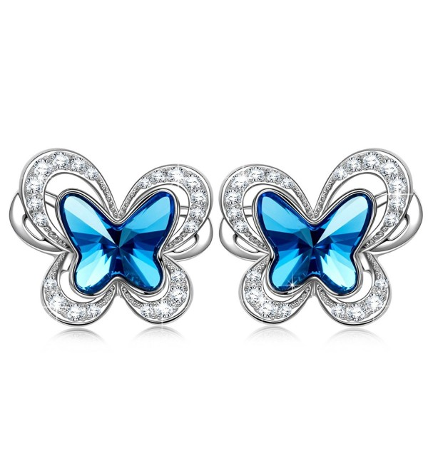 "Earrings with SWAROVSKI Crystals Women Jewelry KATE LYNN ""Butterflies in Stomach"" Butterfly Stud Earrings - C5185A4G6TG"