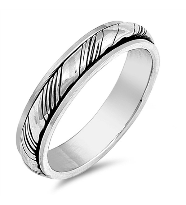 Oxidized Spinner Grooved Wedding Ring New .925 Sterling Silver Band Sizes 7-13 - C012G76BQEL