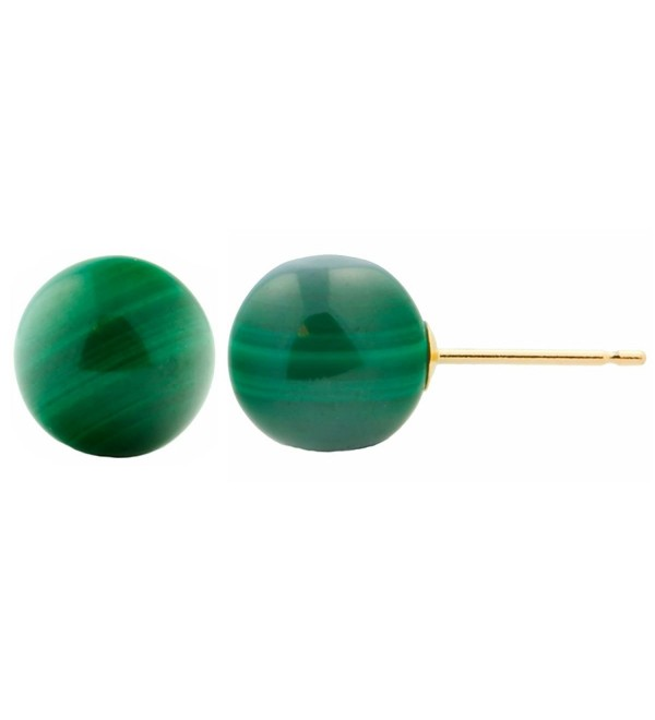 Trustmark 14k Yellow Gold 8mm Natural Green Malachite Ball Stud Earrings - C311KO9DZ65