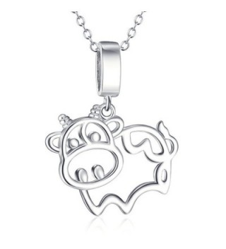 S925 Sterling Silver Cow Animal Pendant Necklace-18inch Rolo Chain - C412H6CKLHN