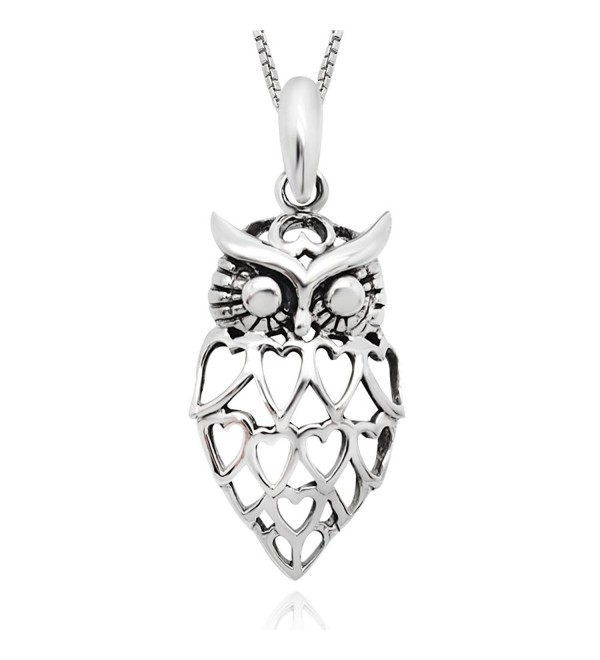 "925 Sterling Silver Lovely Heart Owl Pendant Necklace 18"" for Women - C8126QWT36J"