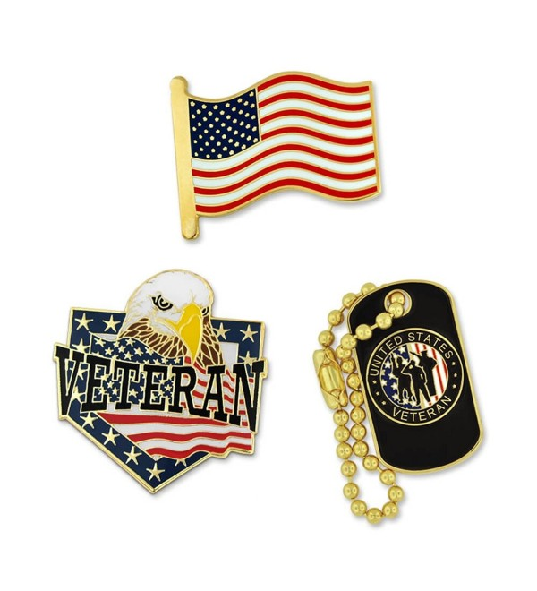 PinMart's Veteran American Flag & Dog Tag Pin Patriotic Enamel Lapel Pin Set - CT182IOZ65H
