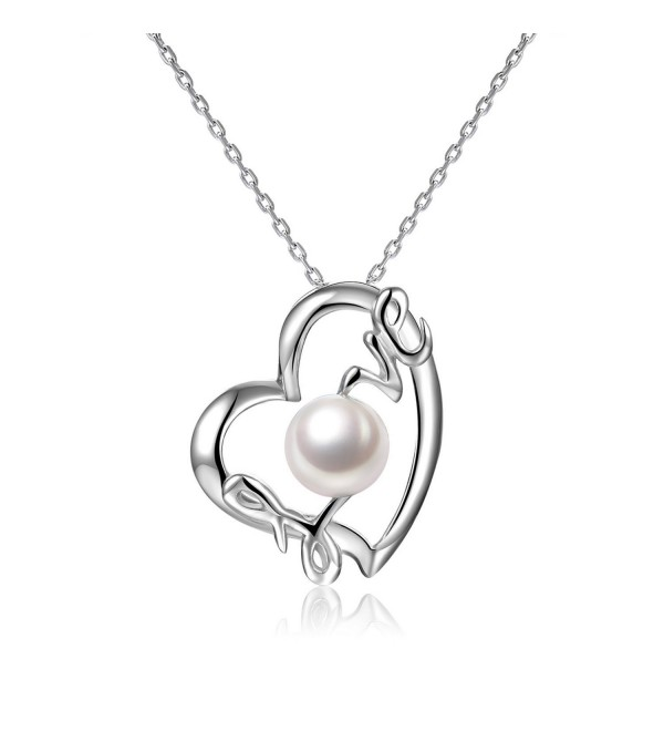 Love Heart Pendant 7-8 mm Freshwater Cultured Pearl Necklace Sterling Silver Gifts for Women - VIKI LYNN - CH121GHSIAP