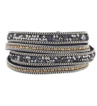 Lux Accessories Grey and Hematite Studded Chain Wrap Bracelet - C812LO54TPN