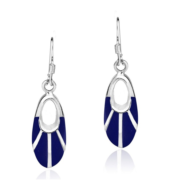 Celestial Oval Reconstructed Lapis-Lazuli Inlay .925 Sterling Silver Dangle Earrings - CV12L2QD2HP