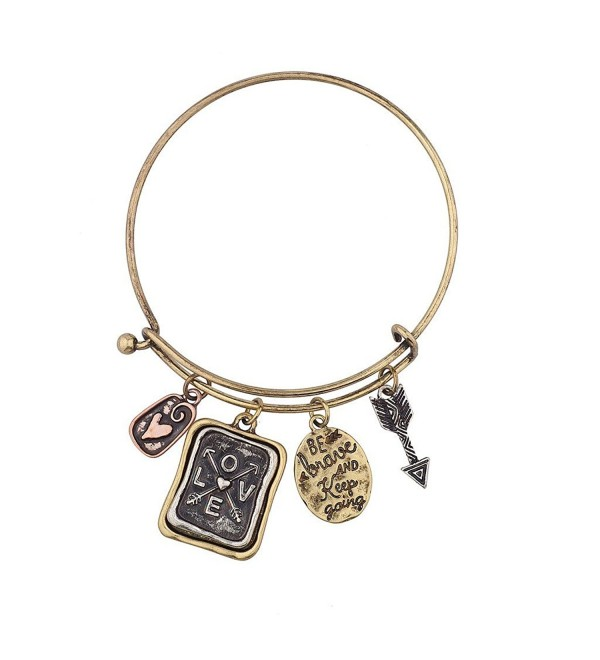 Lux Accessories Be Brave and Keep Going Inspirational Charm Bangle Bracelet - C312GFDT5KX
