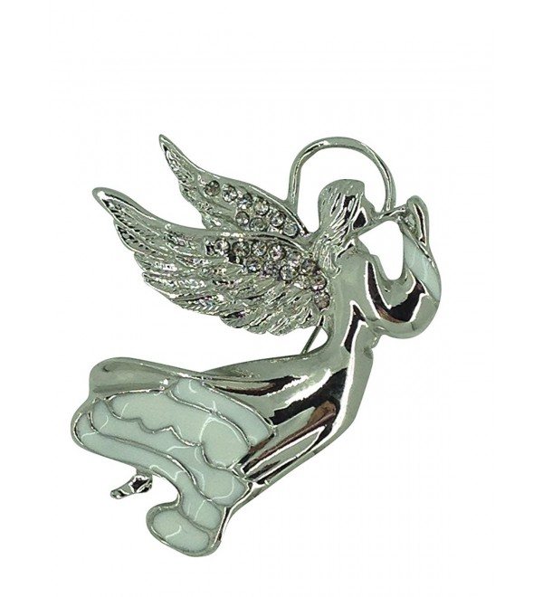 Guardian Angel Pin Brooch Rhodium Plated with Czech Crystals - C411I2JDYI3
